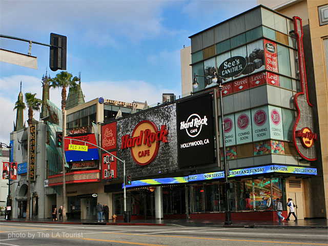 Hollywood Boulevard, including hard Rock Cafe and Graumans Chinese Theater